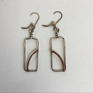 Sterling silver and copper rectangular earrings